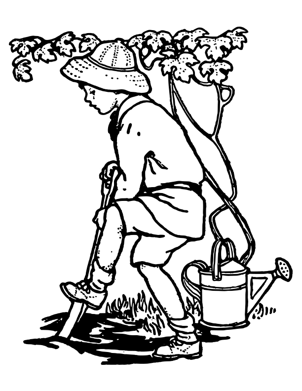 Boy Gardening Coloring Page